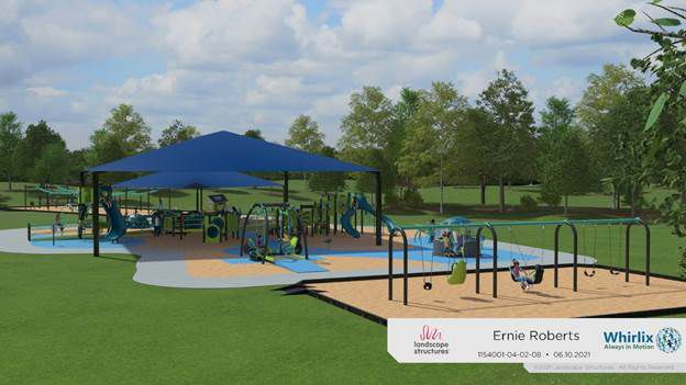 Whirlix Design was selected in June 2021 to design and construct an inclusive playground at Ernie Roberts Park in DeSoto with elements that children of all abilities can use.