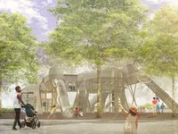"""Landscape architect Christine Ten Eyck describes two of the play structures planned for the children's area of the new Harwood Park as """"ghost mammoths,"""" harkening back to the time 100,000 years ago when Columbian mammoths roamed what is now downtown Dallas."""