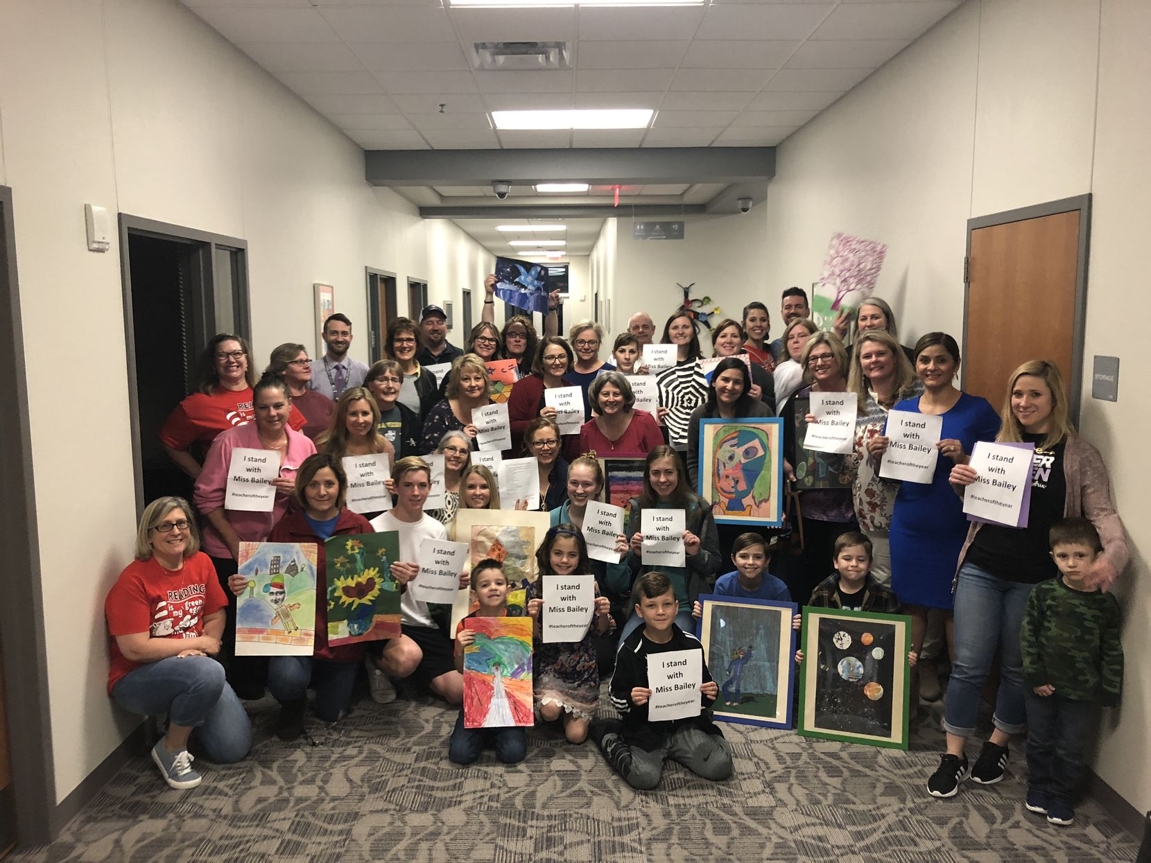 Approximately 40 parents and students showed up at Tuesday night's school board meeting to speak in support of Stacy Bailey