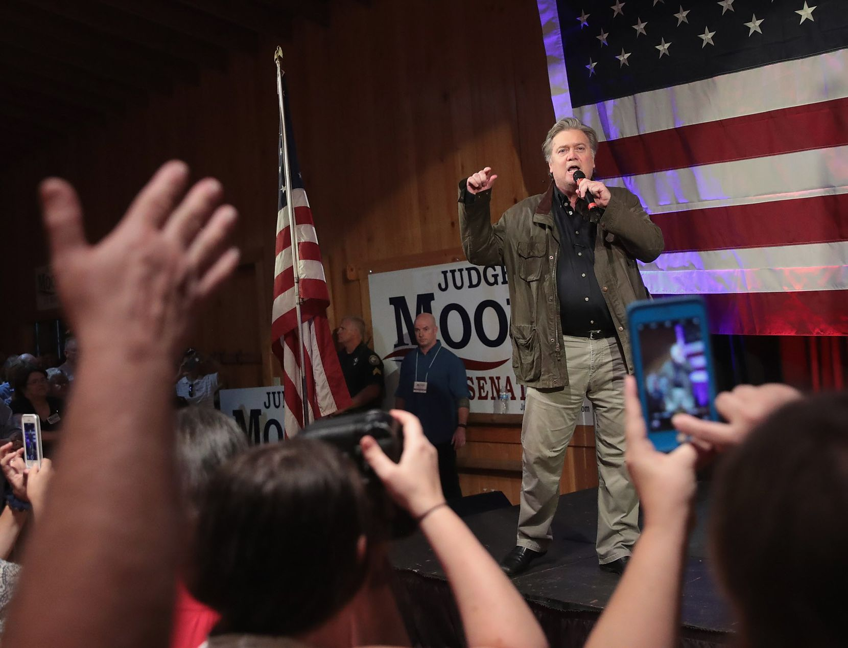 FAIRHOPE, AL - SEPTEMBER 25:  Former advisor to President Donald Trump and  executive chairman of Breitbart News, Steve Bannon, speaks at a campaign event for Republican candidate for the U.S. Senate in Alabama Roy Moore on September 25, 2017 in Fairhope, Alabama.