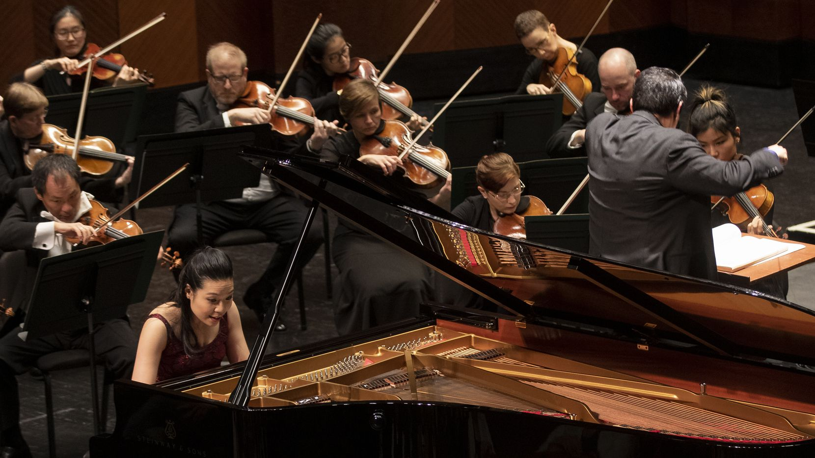 Pianist Joyce Yang plays while conductor Miguel Harth-Beyodya leads the Fort Worth Symphony Orchestra in Beethoven's Concerto No. 1 in C Major, op. 15 during the Cliburn concert series at Bass Performance Hall on Jan. 4, 2020 in Fort Worth.