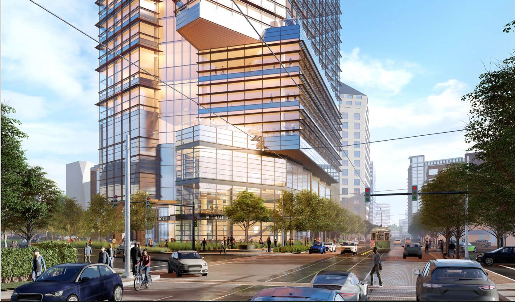 The 27-story tower would replace Truluck's restaurant and the former Gold's Gym buildings.