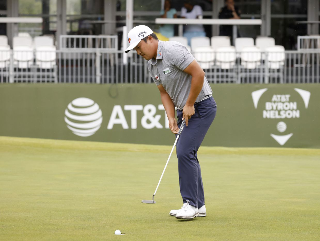Kyoung-Hoon Lee sinks a birdie on the 17th hole during round 4 of the AT&T Byron Nelson  at TPC Craig Ranch on Saturday, May 16, 2021 in McKinney, Texas. (Vernon Bryant/The Dallas Morning News)