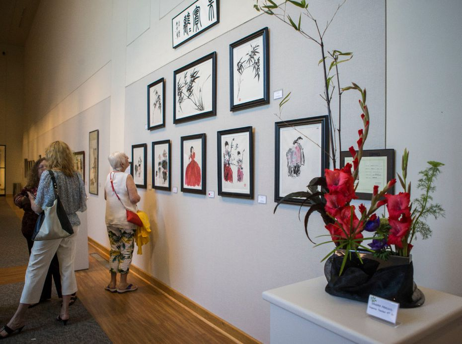 An ikebana floral arrangement is among the works on display as part of the Association of Oriental Arts' exhibit at the Irving Arts Center.