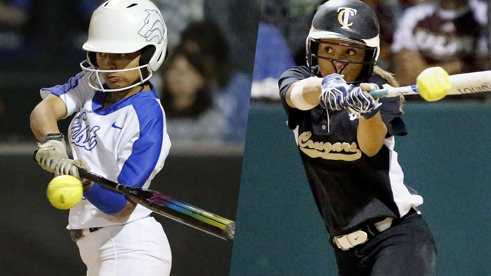 Plano West's Elisa Rosado (left) and The Colony's Jayda Coleman (right) slap hitting the ball.