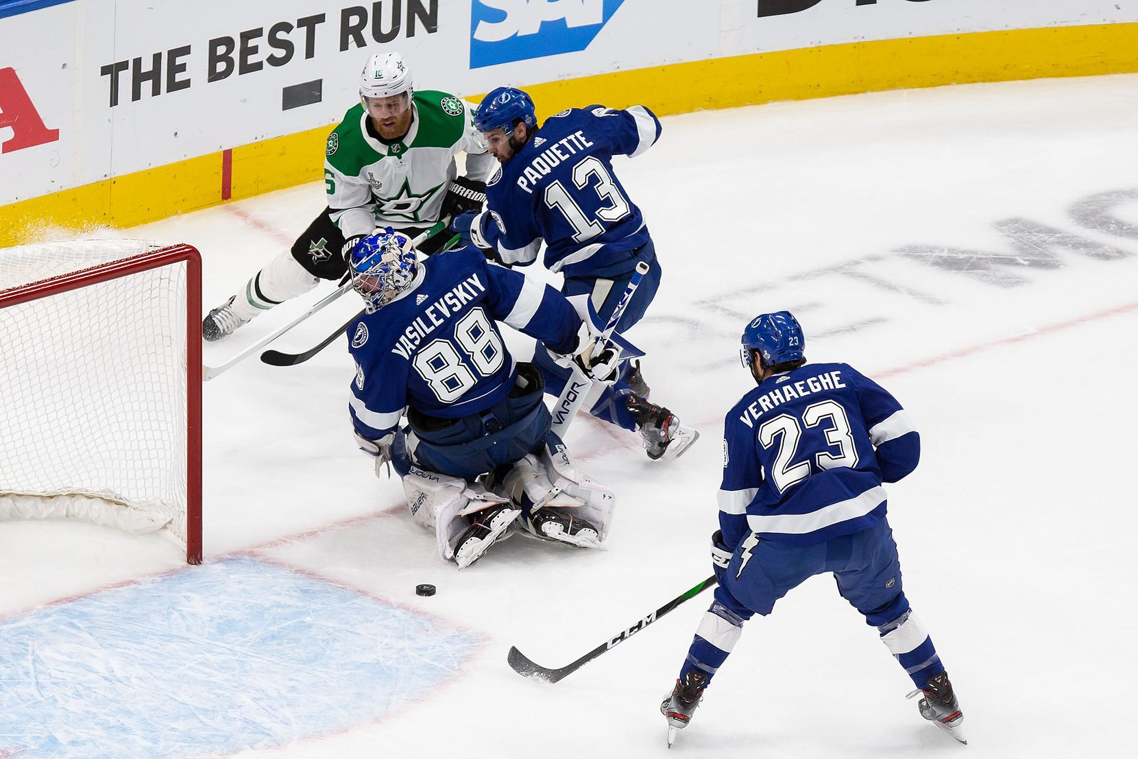 Joe Pavelski (16) of the Dallas Stars attacks the net as goaltender Andrei Vasilevskiy (88) and Cedric Paquette (13) of the Tampa Bay Lightning defend during Game Two of the Stanley Cup Final at Rogers Place in Edmonton, Alberta, Canada on Monday, September 21, 2020. (Codie McLachlan/Special Contributor)
