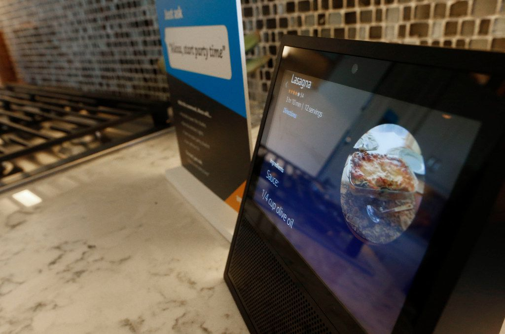 The Echo Show at an Amazon Experience Centers model home built by Lennar in Dallas, Texas on May 9, 2018. (Nathan Hunsinger/The Dallas Morning News)