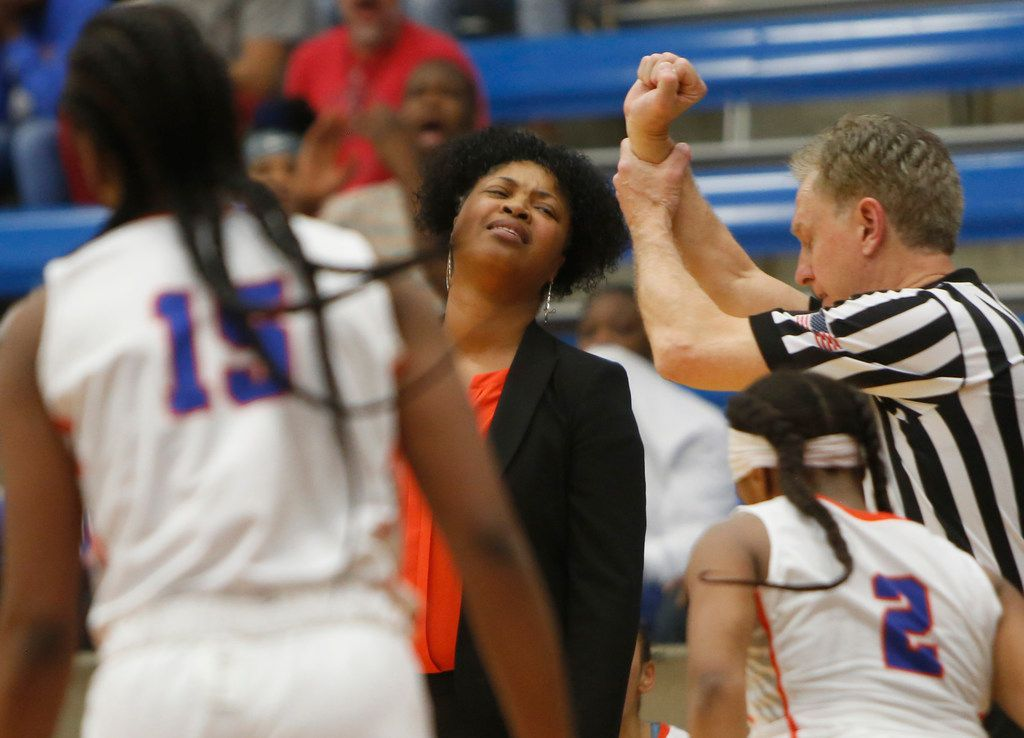 Arlington Bowie head coach Kelly Carruthers reacts to a foul called against one of her players during first half action against Hurst L.D. Bell. The two teams played their Class 6A bi-district girls basketball game at Grand Prairie High in Grand Prairie on February 17, 2020. (Steve Hamm/Special Contributor).