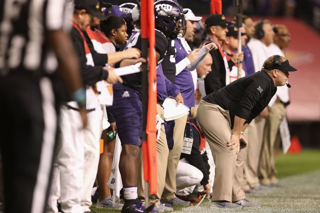 PHOENIX, ARIZONA - DECEMBER 26:  Head coach Gary Patterson of the TCU Horned Frogs watches from the sidelines during the first half of the Cheez-it Bowl against the California Golden Bears at Chase Field on December 26, 2018 in Phoenix, Arizona. (Photo by Christian Petersen/Getty Images)
