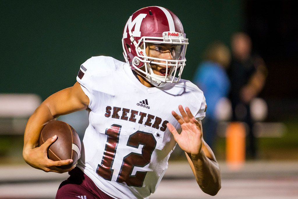 Mesquite quarterback Dylan Hillard-McGill (12) finds room to run on a 88-yard touchdown run during the first half of a high school football game against L.D. Bell on Thursday, Sept. 19, 2019, in Bedford, Texas. (Smiley N. Pool/The Dallas Morning News)