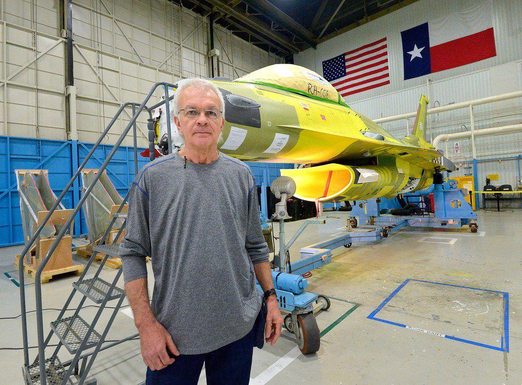 Paint finisher Robin Atkins talks about the F-16 program at Lockheed Martin Aeronautics in Fort Worth.