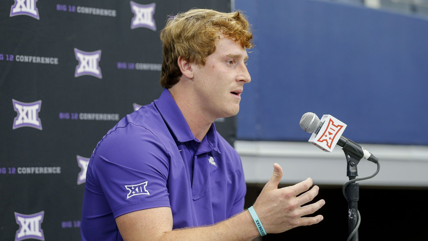TCU quarterback Max Duggan speaks during the Big 12 Conference Media Days at AT&T Stadium on Wednesday, July 14, 2021, in Arlington.