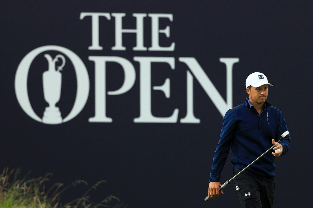 PORTRUSH, NORTHERN IRELAND - JULY 18: Jordan Spieth of the United States looks on on the 18th green during the first round of the 148th Open Championship held on the Dunluce Links at Royal Portrush Golf Club on July 18, 2019 in Portrush, United Kingdom. (Photo by Mike Ehrmann/Getty Images)