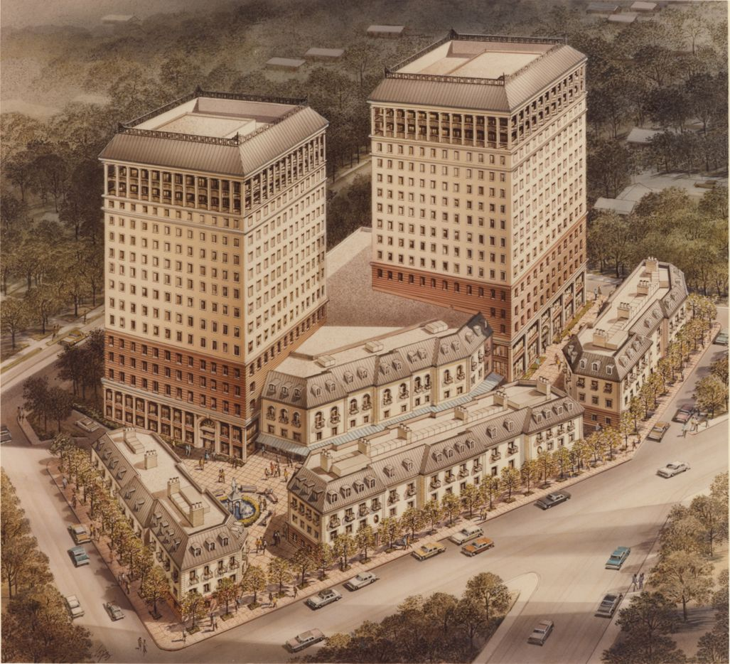 Cedar Maple Plaza's original plans from the 1980s included two office towers behind the three small buildings constructed on the street.