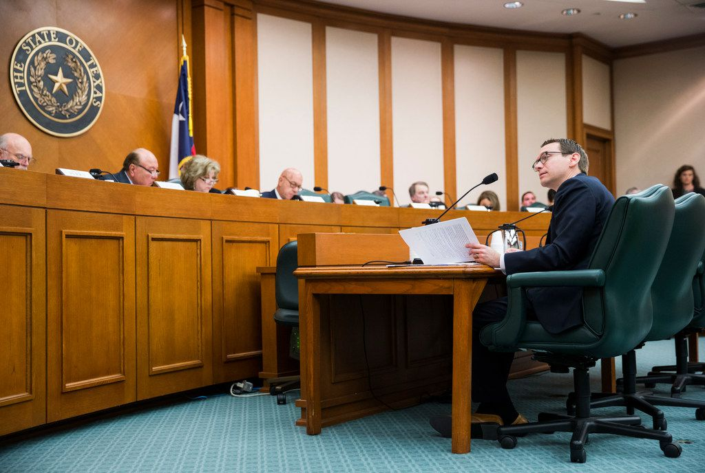 Commissioner of Education Mike Morath (right) answers questions from members of the senate committee on SB3, which would give teachers a $5,000 pay raise next year, at a senate committee hearing on Monday, February 25, 2019 at the Texas state capital extension in Austin. (Ashley Landis/The Dallas Morning News)