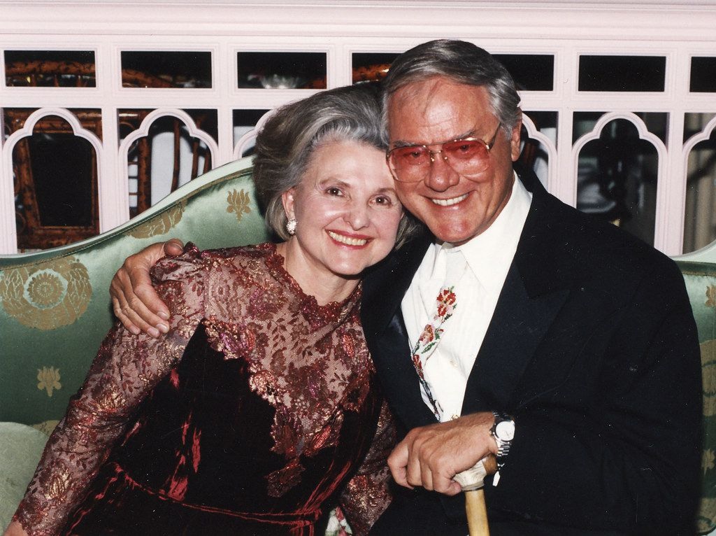 Caroline Rose Hunt with actor Larry Hagman aka J.R. Ewing in 1991.