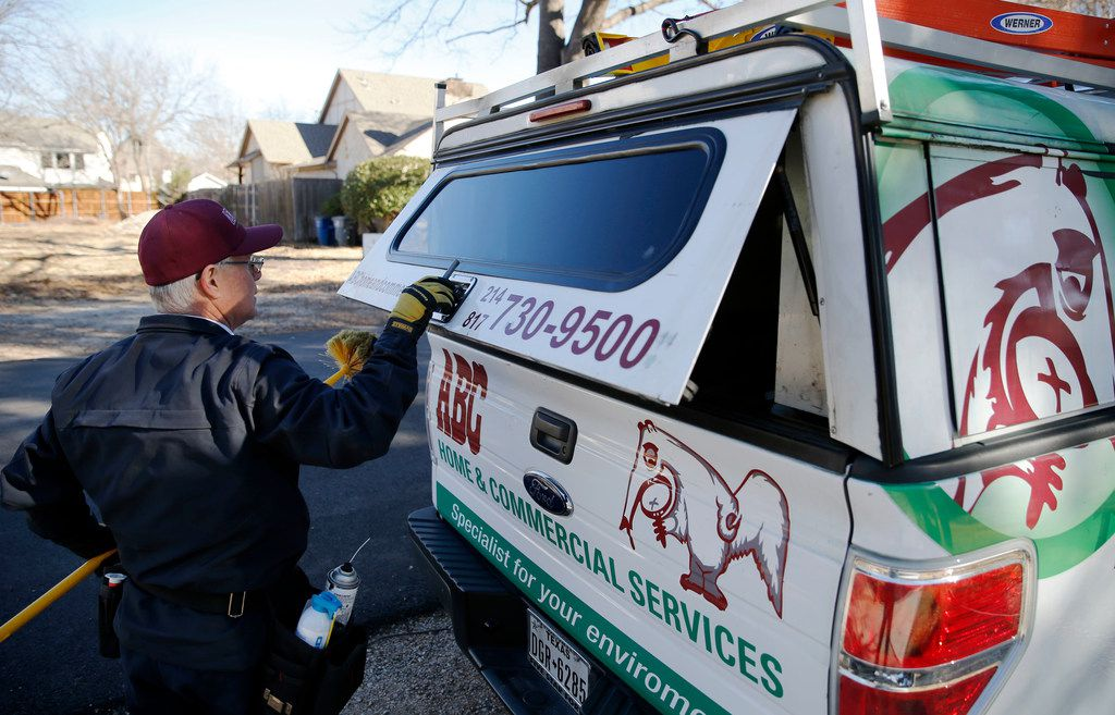 Steve Florsheim of ABC Home and Commercial Services works on preventative pest treatment at a home in Dallas on Tuesday, January 23, 2018.