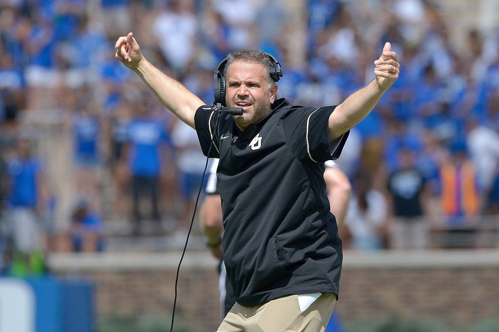 DURHAM, NC - SEPTEMBER 16:  Head coach Matt Rhule of the Baylor Bears reacts during the game against the Duke Blue Devils at Wallace Wade Stadium on September 16, 2017 in Durham, North Carolina.  (Photo by Grant Halverson/Getty Images)