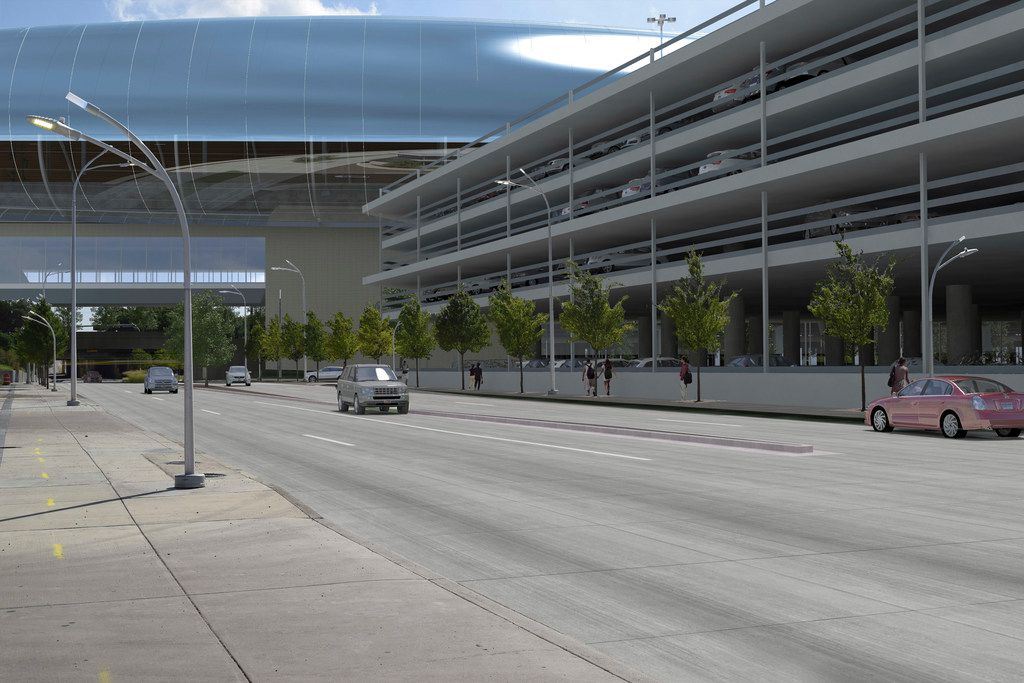 A conceptual digital rendering showing the North Texas passenger station for The Texas Bullet Train, located in the Cedars neighborhood of Dallas, just south of downtown, near the Interstate 30 and Interstate 35 interchange. The station would be located on a largely vacant 60-acre plot south of the Kay Bailey Hutchison Convention Center. Enclosed, elevated pedestrian bridges would then connect the station to new parking facilities, which may be extended to provide easy access to public transit, such as DART's nearby stations at the convention center and Union Station as well as an extension of the Trinity Railway Express commuter line from Union Station to the bullet train terminal.