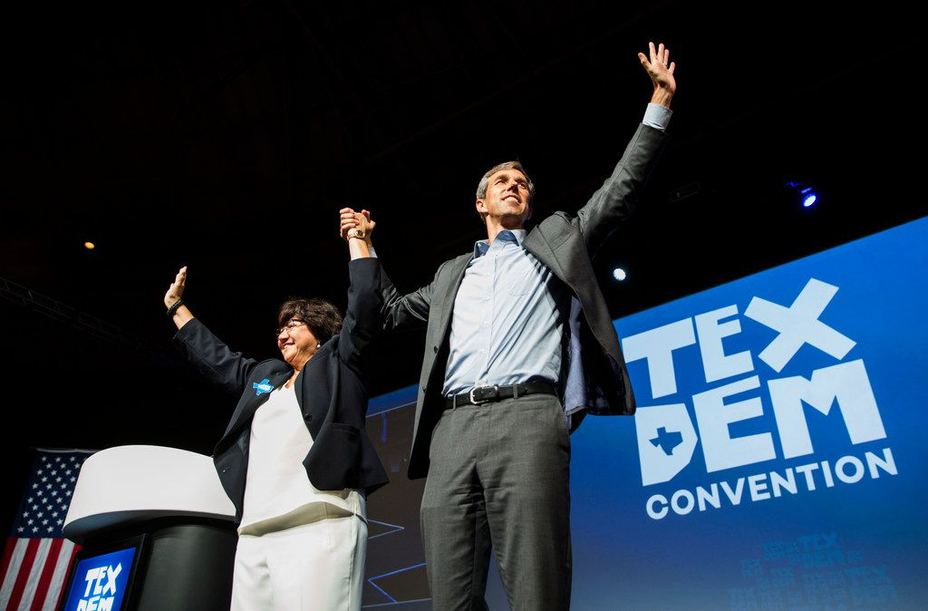 Democratic candidate for governor Lupe Valdez and U.S. Rep. Beto O'Rourke walk the stage together during the Texas Democratic Convention on Friday, June 22, 2018 at the Fort Worth Convention Center in Fort Worth.
