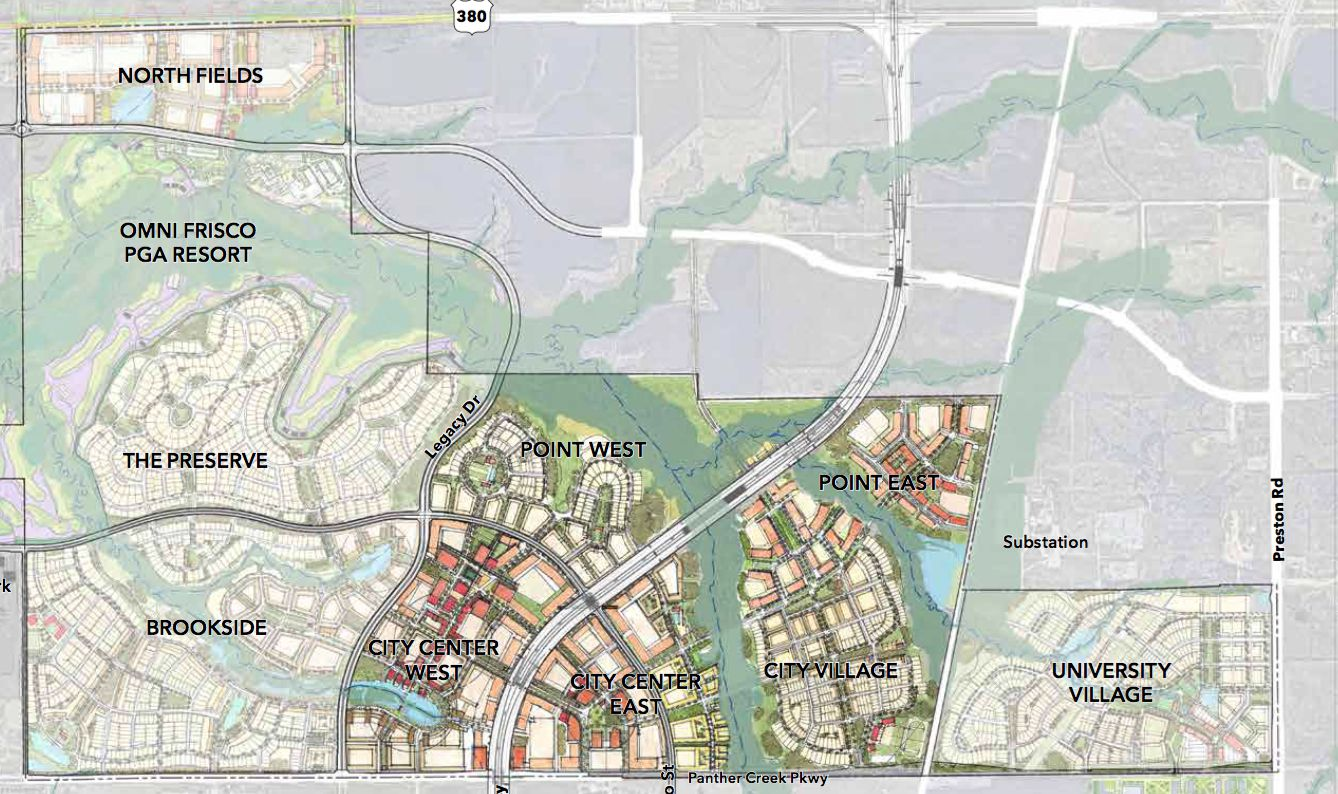 Preliminary plans for the 2,500-acre Fields project in Frisco show a combination of residential and commercial development.