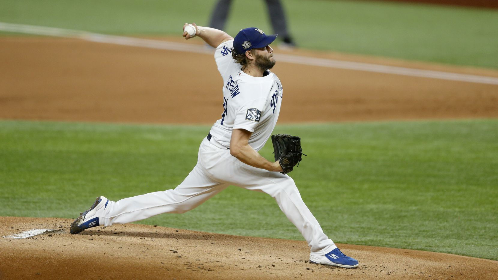 Los Angeles Dodgers starting pitcher Clayton Kershaw (22) pitches in the first inning against the Tampa Bay Rays in game one of the World Series at Globe Life Field on Monday, October 20, 2020 in Arlington, Texas.