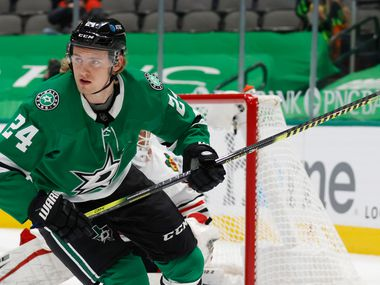 Dallas Stars left wing Roope Hintz (24) in a game against the Chicago Blackhawks during the first period of play at American Airlines Center on Tuesday, February 9, 2021in Dallas. (Vernon Bryant/The Dallas Morning News)