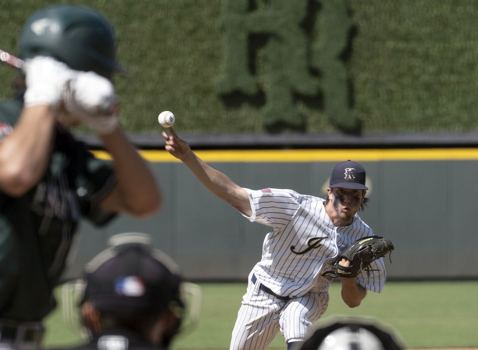 Keller Eric Hammond, (27), pitches against Houston Strake Jesuit Gabe Gruenewald, (8), during the first inning of the 2021 UIL 6A state baseball semifinals held, Friday, June 11, 2021, in Round Rock, Texas. Keller defeated Strake Jesuit 7-1.   (Rodolfo Gonzalez/Special Contributor)