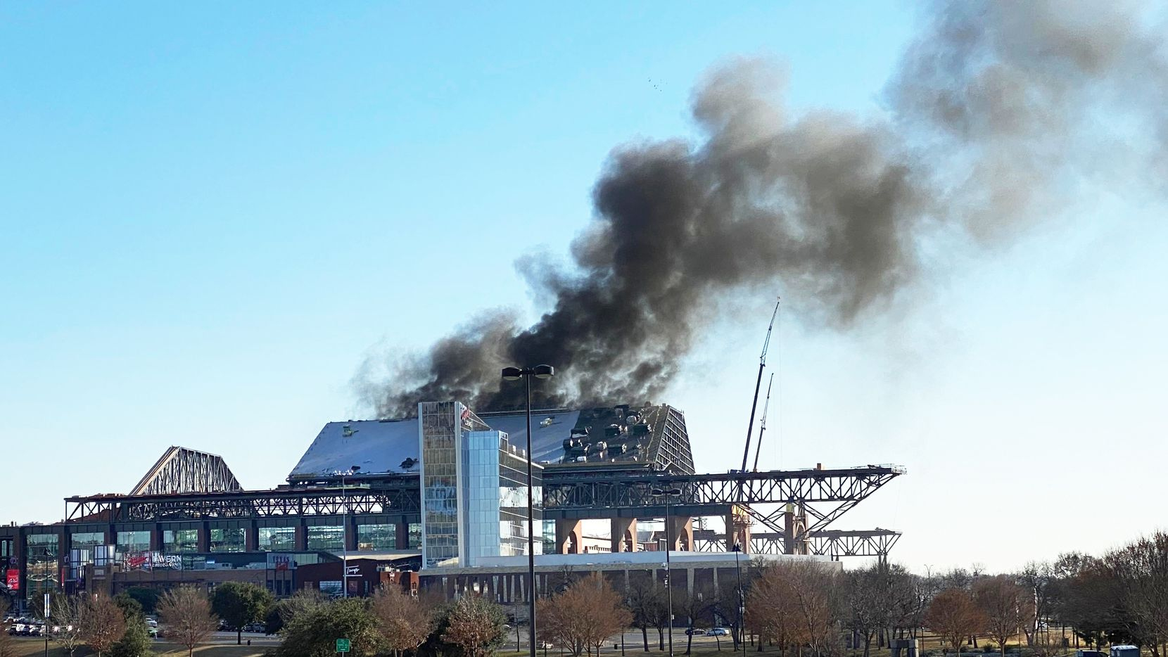A fire broke out Saturday at the new Texas Rangers ballpark under construction in Arlington. The $1.2 billion retractable-roof stadium is expected to open for the 2020 season.