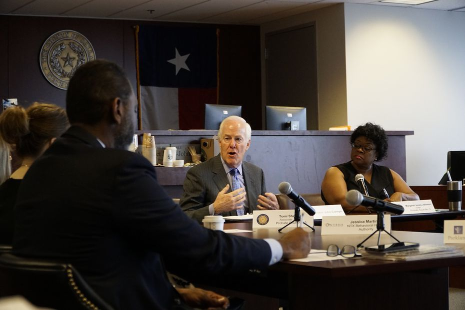 Sen. John Cornyn speaks to mental health professionals at the Renaissance Tower in Dallas on Sept. 30, 2019.