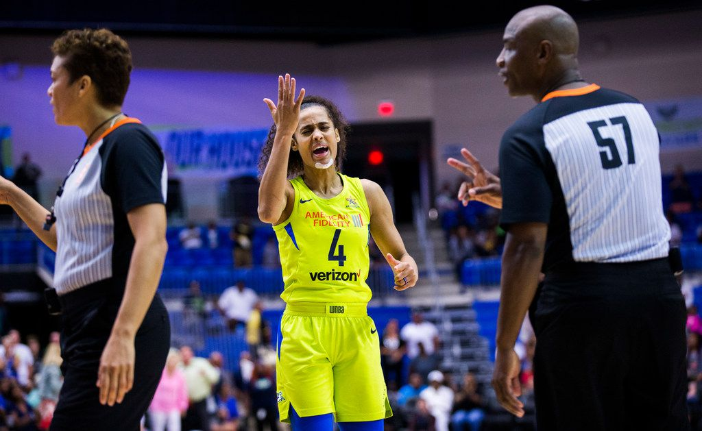Dallas Wings guard Skylar Diggins-Smith (4) reacts to a call during the fourth quarter of a WNBA game between the Dallas Wings and the Chicago Sky on Tuesday, July 31, 2018 at College Park Center on the UTA campus in Arlington. (Ashley Landis/The Dallas Morning News)