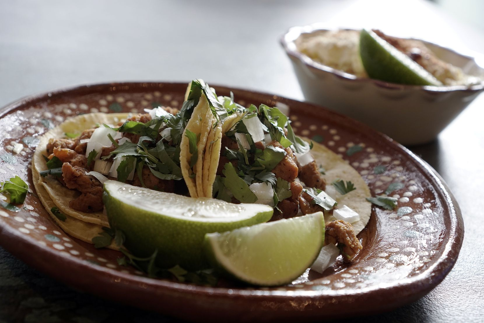 Vegan Street Tacos and Mexican Corn are very popular at Mariachi's Dine In in Fort Worth.
