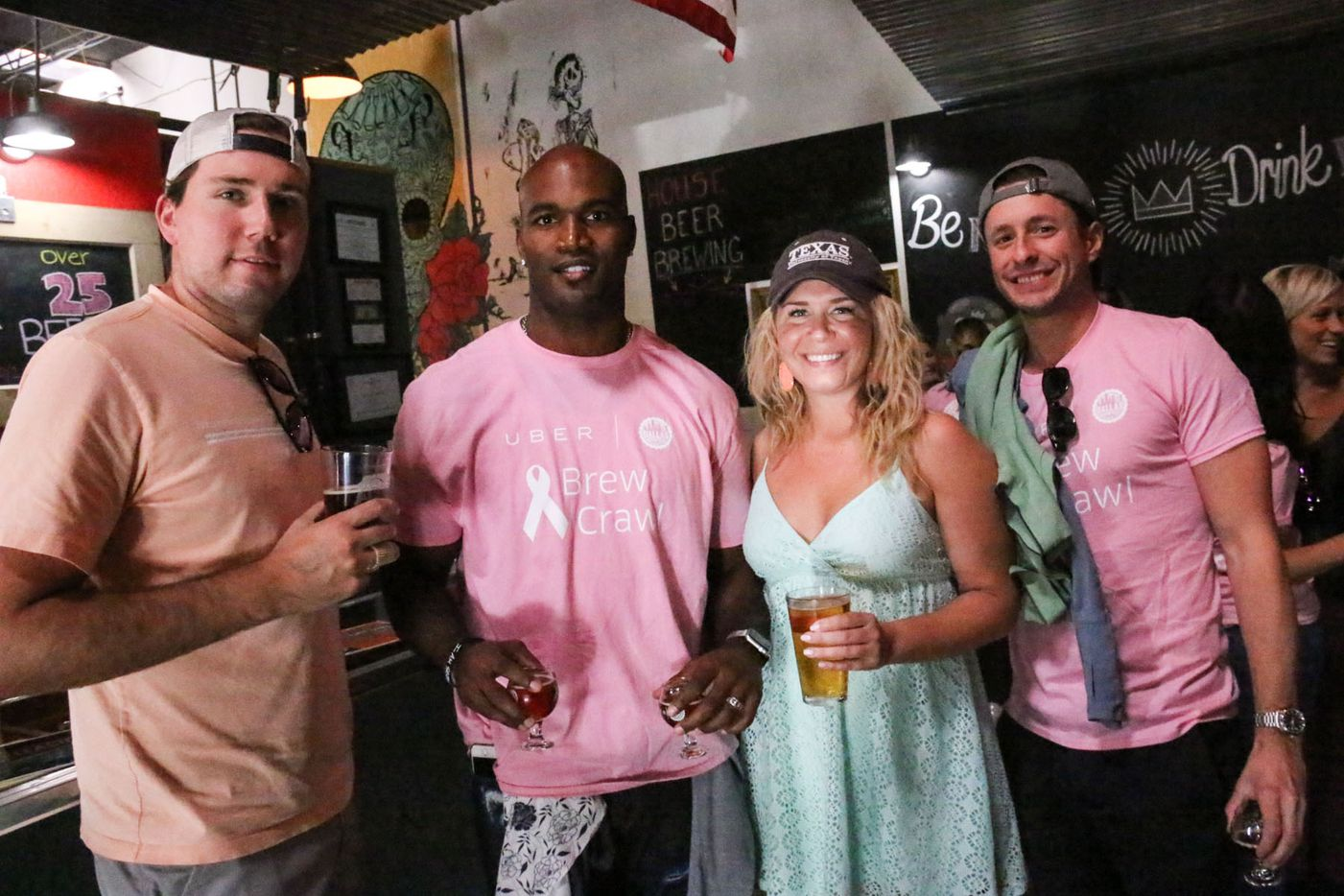 Bradie James (second from left) posed with brew crawlers  at Noble Rey Brewing Co. during the inaugural Brew Crawl for Breast Cancer on Saturday at Noble Rey Brewing Co. in Dallas. The event benefited Bradie James' Foundation 56 breast cancer nonprofit.