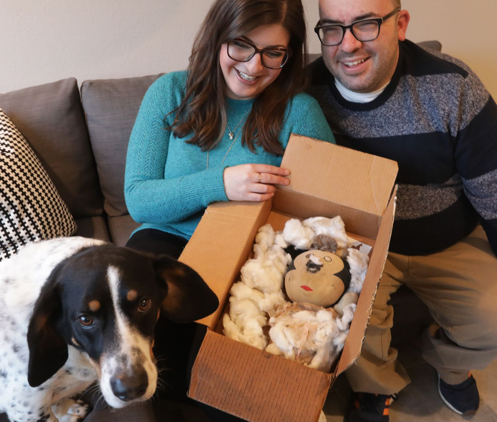 Leslie and Eli Cohn-Wein have recovered Leslie's childhood Minnie Mouse toy, which came out on the losing end of a tussle with their dog, Mack.