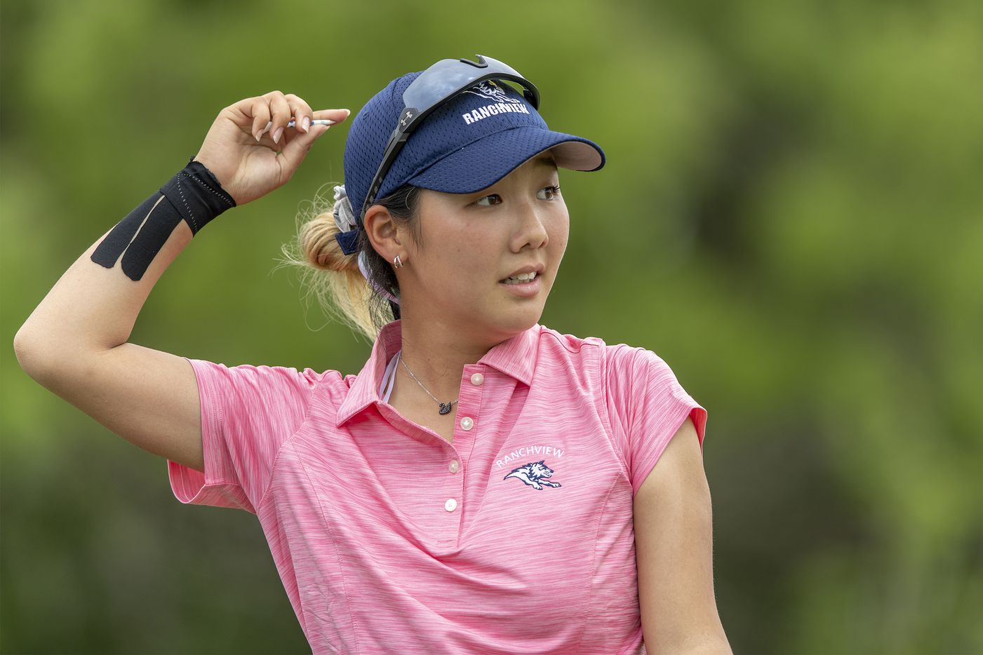 Carrollton Ranchview's Bohyun Park watches her shot from the 11th tee box during the final day of the UIL Class 4A girls golf tournament in Kyle, Tuesday, May 11, 2021. (Stephen Spillman/Special Contributor)