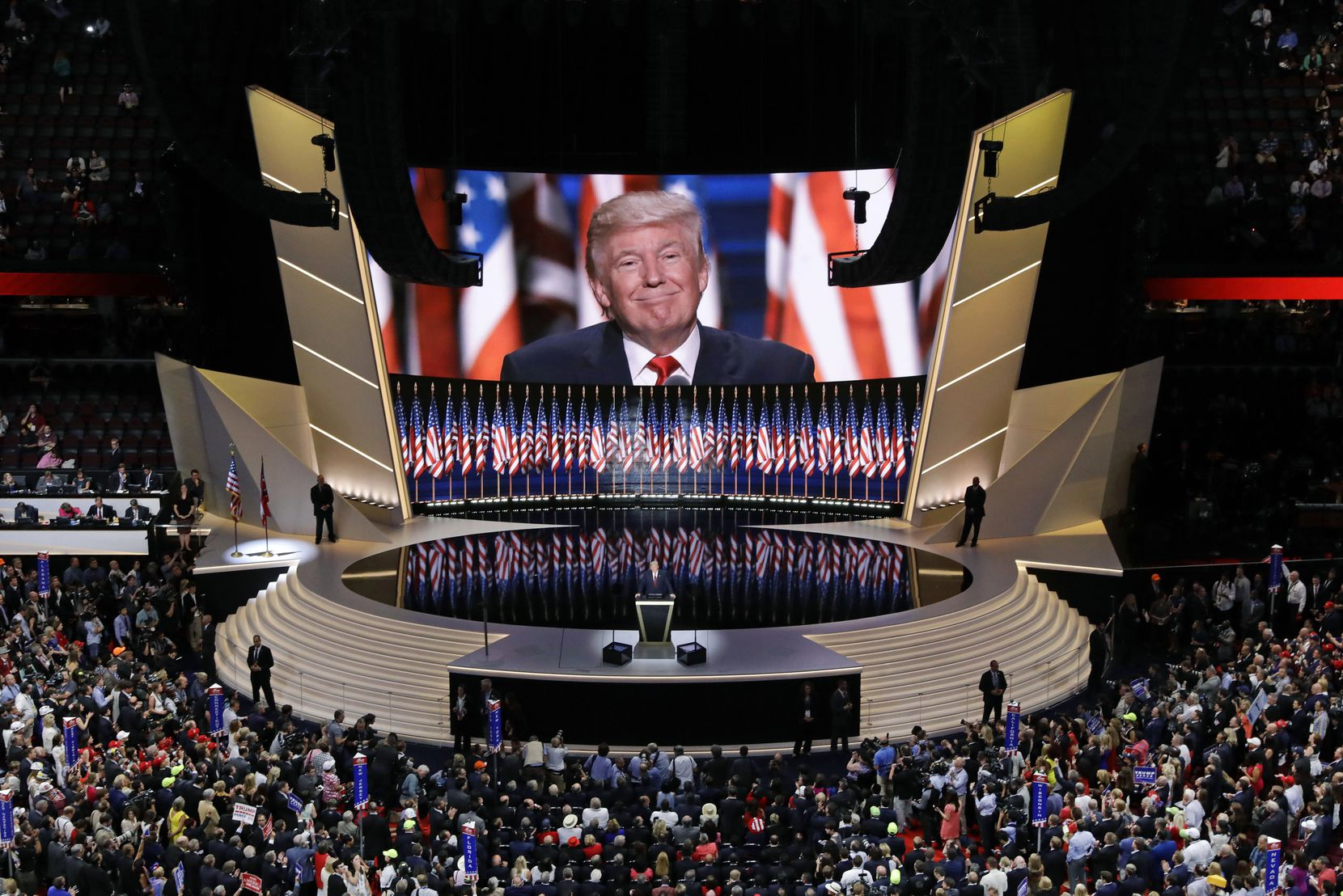 Donald Trump addresses the final session of the 2016 Republican National Convention in Cleveland.