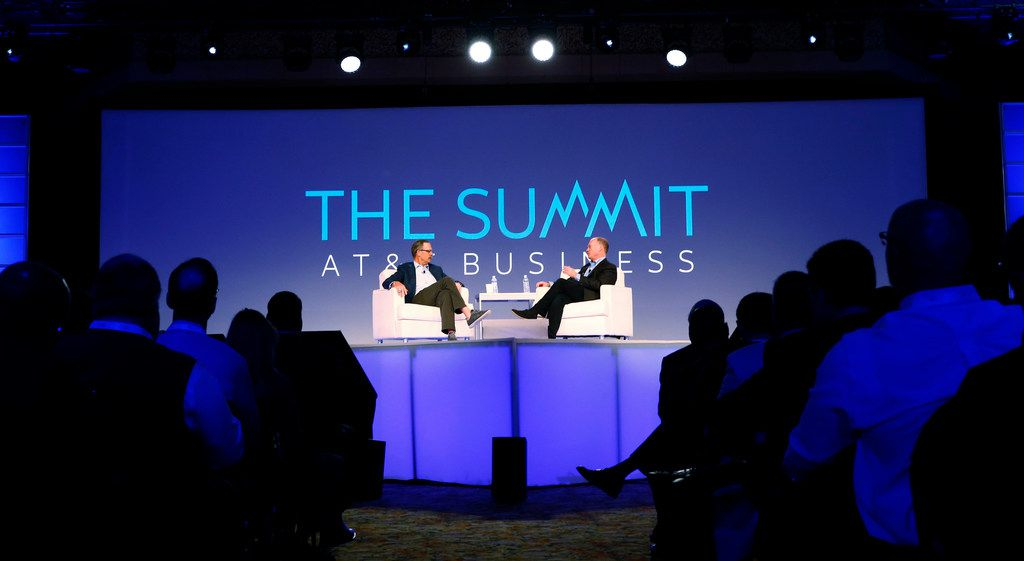 Glenn Hutchins, board member, (left) and John Donovan, CEO of AT&T Communications, have a conversation during The Summit at the Gaylord Texan Resort Hotel & Convention Center in Grapevine on Oct. 31, 2017.