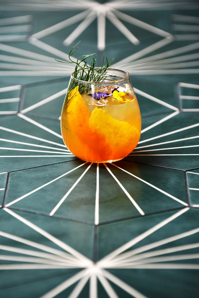 No. 209 gin and tonic made with Italicus Rosolio di Bergamotto, fennel fronds and orange peel from Sachet in Dallas.