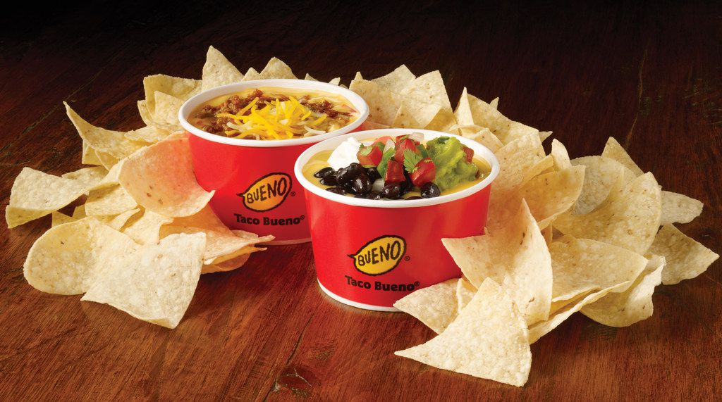 Taco Bueno announced in early January 2018 that it would sell two loaded quesos: a vegetarian cowboy queso and a beefy chili bean queso.