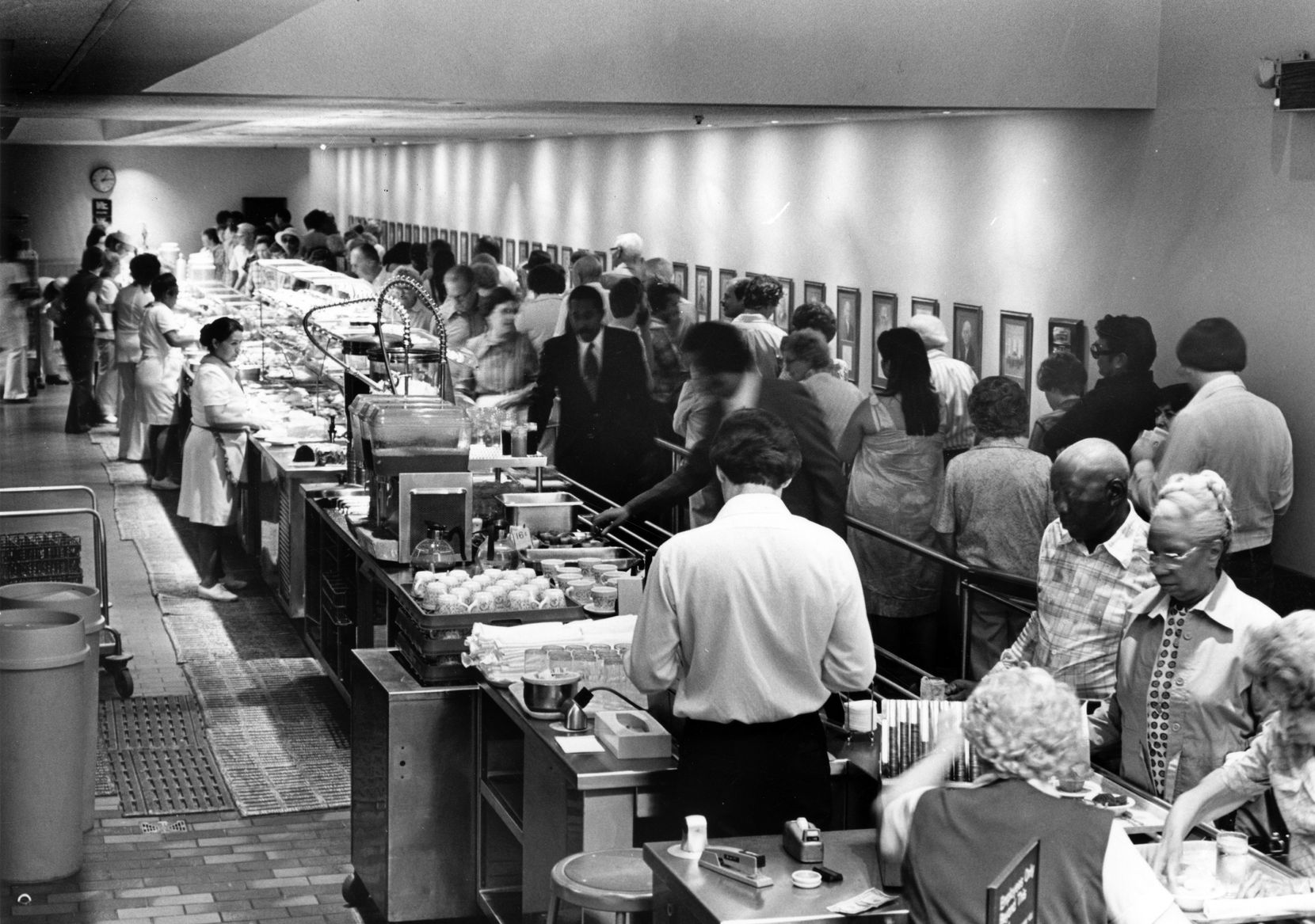 This is a June 1978 uncredited TDMN staff photo of the serving line at the Highland Park Cafeteria.