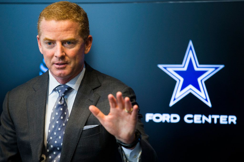 Dallas Cowboys head coach Jason Garrett answers questions from reporters after rounds four through seven of the 2017 NFL Draft on Saturday, April 29, 2017 at The Star in Frisco, Texas. (Ashley Landis/The Dallas Morning News)