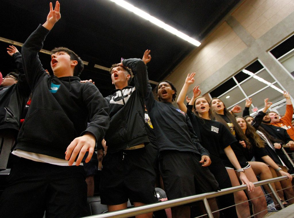 A capacity student section witnessed a nail biter of plays in the final minute of the first half against DeSoto. The two teams played their Class 6A boys bi-district playoff basketball game at Forney High School in Forney on February 24 2020. (Steve Hamm/Special Contributor).