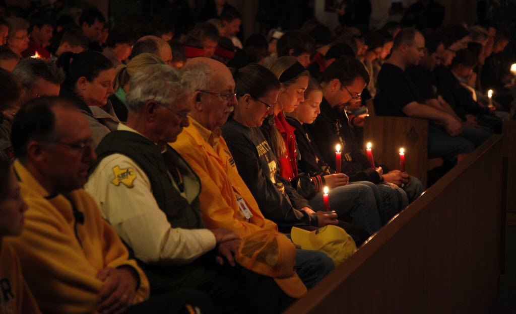 Residents of West gathered for a prayer service and candlelight vigil at St. Mary's Catholic Church of the Assumption on April 18, 2013, the day after the explosion.