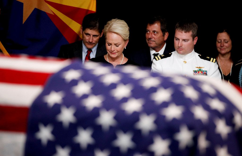 Cindy McCain sat with her son, Jack, during a memorial service for Sen. John McCain at the State Capitol in Phoenix on Aug. 29, 2018. Arizonans began to say farewell here on Wednesday morning to McCain, the towering political figure in this part of the West who died over the weekend at age 81.