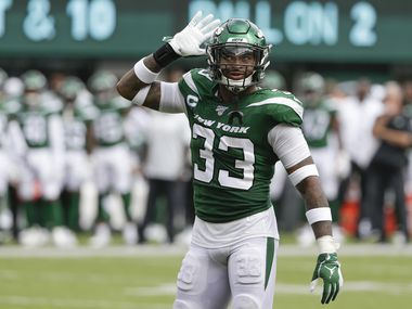 New York Jets strong safety Jamal Adams (33) gestures to the crowd during the second half of an NFL football game against the Buffalo Bills Sunday, Sept. 8, 2019, in East Rutherford, N.J.