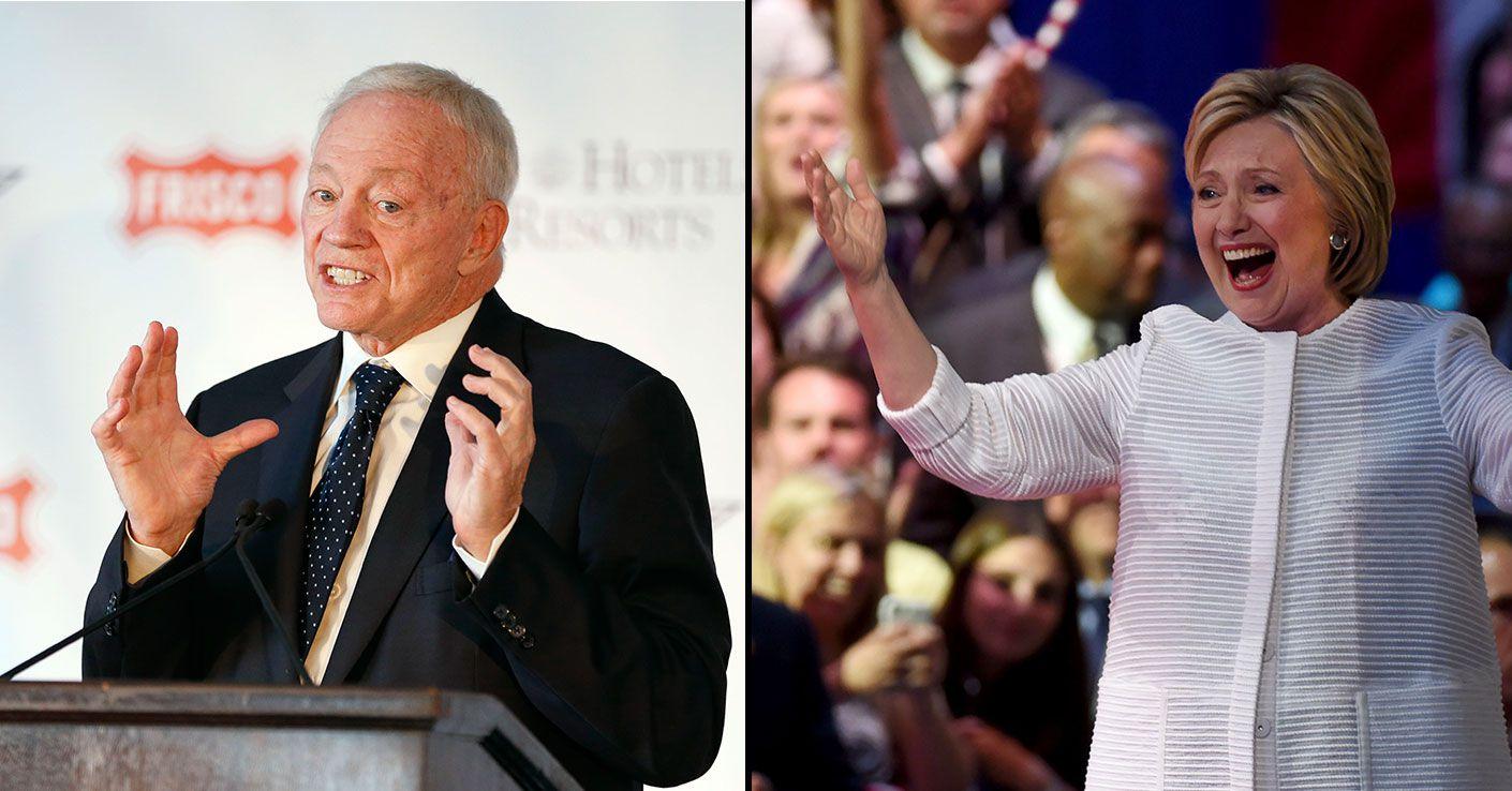Cowboys owner Jerry Jones (left) and presumptive Democratic presidential nominee Hillary Rodham Clinton