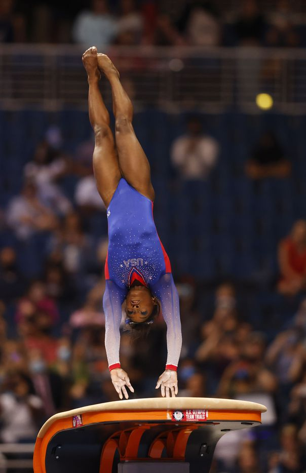 Simone Biles of World Champions competes in the vault  during day 1 of the women's 2021 U.S. Olympic Trials at America's Center on Friday, June 25, 2021 in St Louis, Missouri.(Vernon Bryant/The Dallas Morning News)