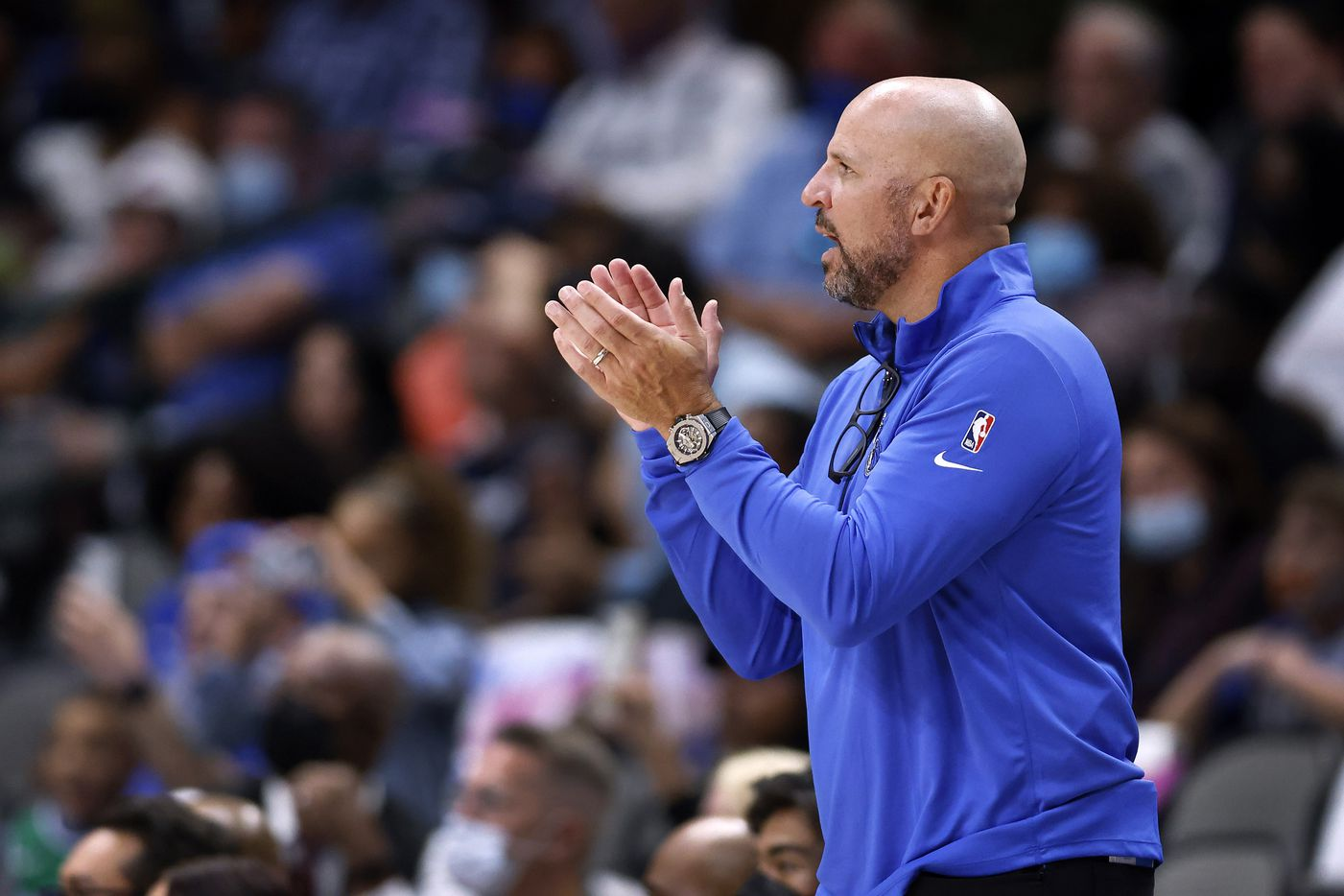 Dallas Mavericks head coach Jason Kidd applauds his team face the Utah Jazz in the second half at the American Airlines Center in Dallas, Wednesday, October 6, 2021. The Mavericks defeated the Jazz, 111-101. (Tom Fox/The Dallas Morning News)