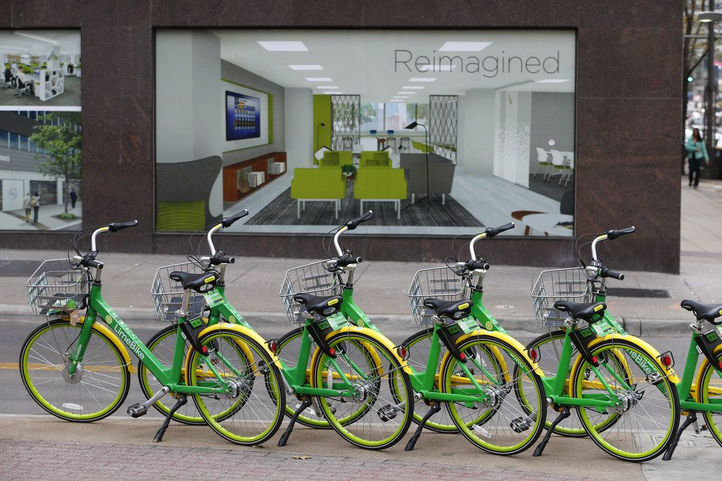 Rental bicycles are lined in a row in downtown Dallas on Jan. 19.