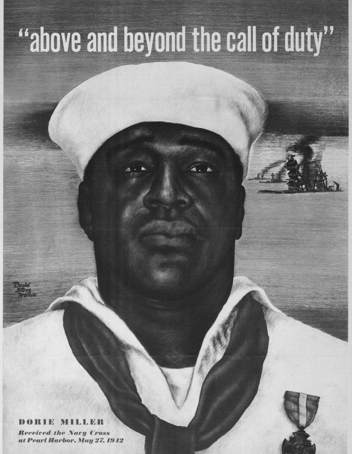 "A recruiting poster featuring Doris ""Dorie"" Miller was used by the U.S. Office of War Information during World War II."
